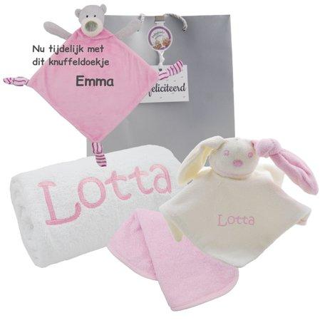 Handdoek wit 50 x 100 babyroze met naam