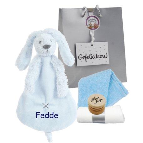 Babypakketje rabbit richie blue met naam