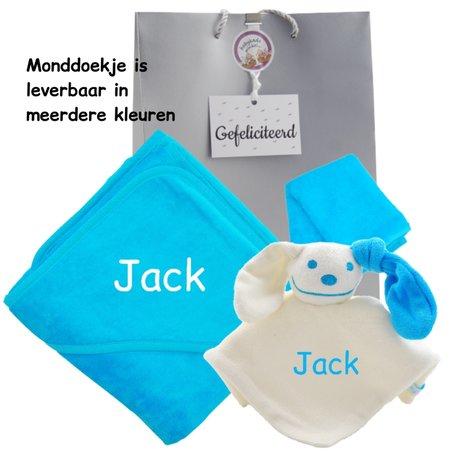Baby cadeau turquoise met naam