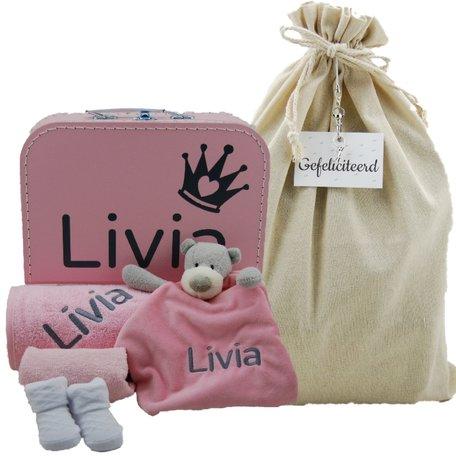 Babykoffertje babyroze met naam
