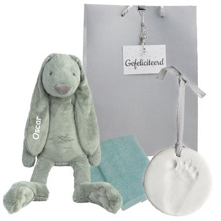 Baby Cadeauset Rabbit Richie Stonegreen met naam
