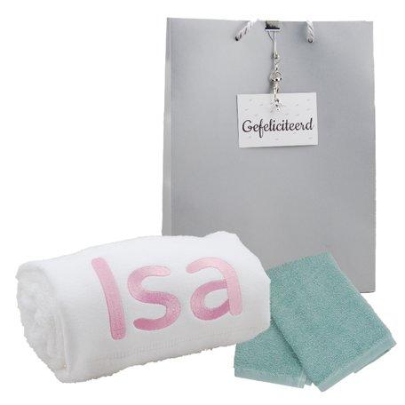 Handdoek wit 50 x 100 met naam