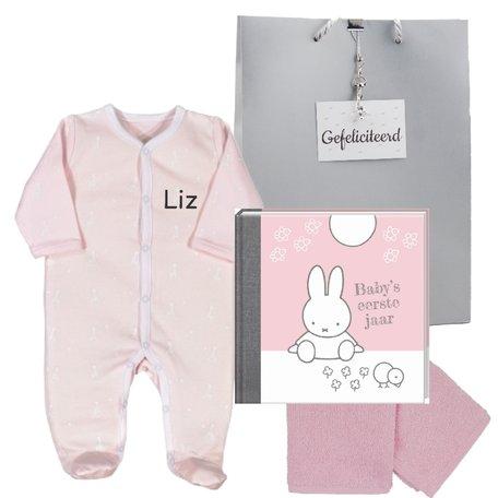 Baby Cadeauset roze met naam