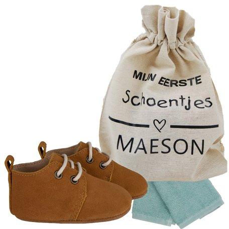 Babyslofjes Baby Dutch Veterschoentjes Cognac 3-6 maand