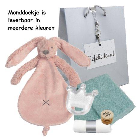Cadeaupakketje knuffeldoekje rabbit richie old pink