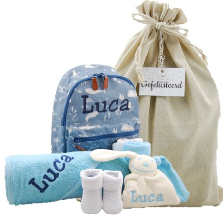 Babypakket rugtas Little Dutch ocean blue met naam