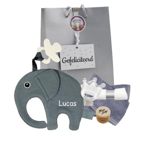 Speendoekje Funnies olifant ollie grijs met naam