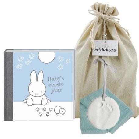 Baby Cadeauset Nijntje Boek Blauw met kleihanger