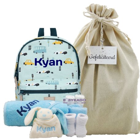 Babypakket rugtas Kidzroom mini blue met naam