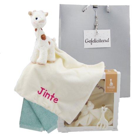 Cadeauset Knuffeldoek Sophie de Giraf Cherie met naam