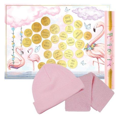 Baby cadeau Milestone krasposter Flamingo Pink