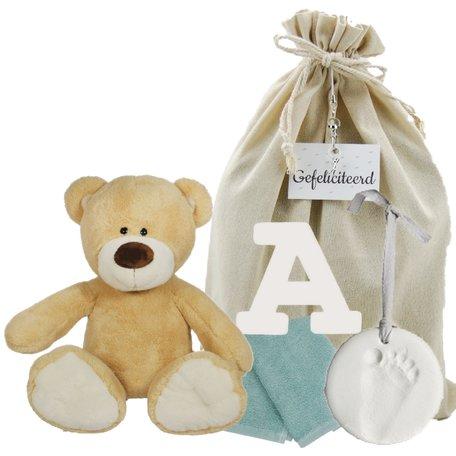 Baby Cadeauset Beertje Boris met houten letter