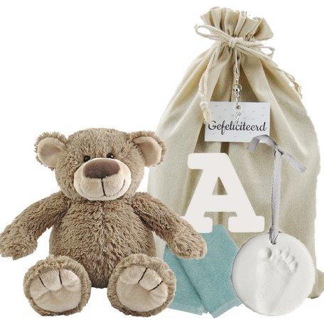 Baby Cadeauset Beertje Bella met houten letter