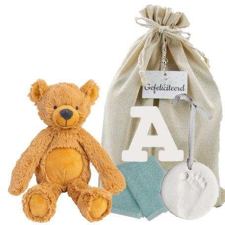 Baby Cadeauset Bear Bradley met houten letter