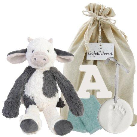 Baby Cadeauset Cow Casper met houten letter