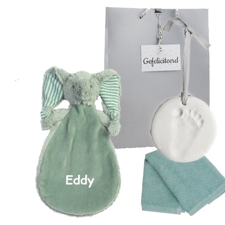 Babypakketje knuffeldoekje Elephant Eddy met naam