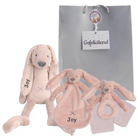 Baby cadeau Rabbit Richie Old Pink met naam