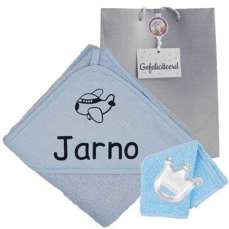 Badcape Babiezz babyblauw met naam