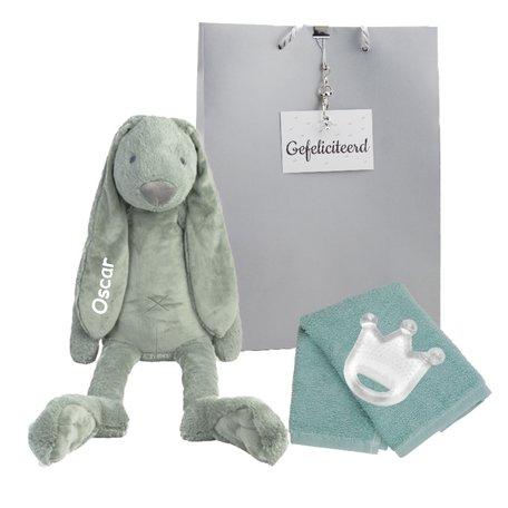 Knuffel Rabbit Richie stonegreen met naam