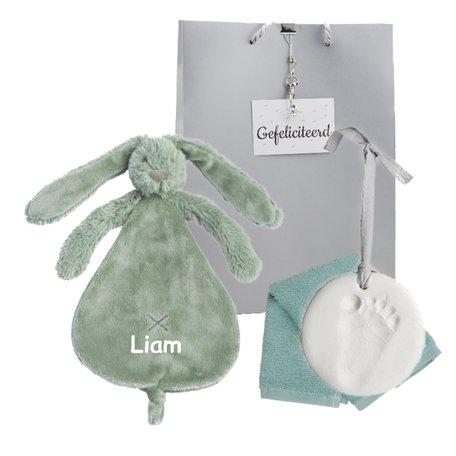 Babypakketje Rabbit Richie stonegreen met naam