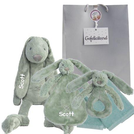 Baby cadeau Rabbit Richie stonegreen met naam