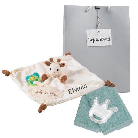 Knuffeldoekje Sophie de Giraf speenkoord met naam