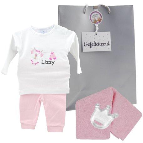 Babypakje wit waslijntje roze prematuur met naam 50