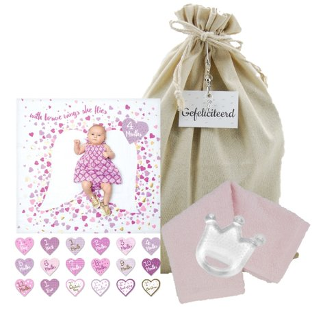 Lulujo Baby's First Year Swaddle & Cards - With brave wings she flies