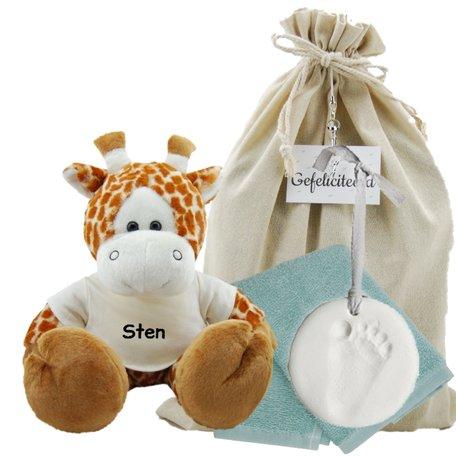 Baby Cadeauset girafje met naam