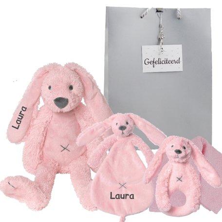 Baby cadeau Rabbit Richie pink met naam