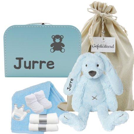 Babykoffertje babyblauw Rabbit Richie met naam