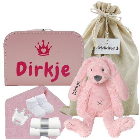 Babykoffertje babyroze Rabbit Richie met naam