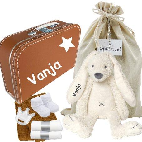 Babykoffertje roestbruin Rabbit Richie Ivory met naam