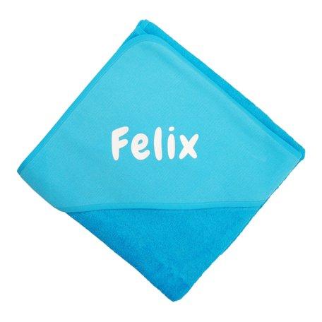 Badcape turquoise XL met naam