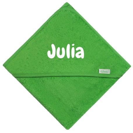 Badcape groen met naam