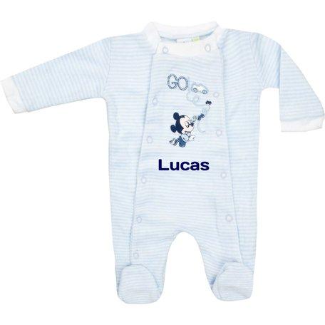Babypakje Disney Mickey Mouse blauw stripe met naam maat 0 maand