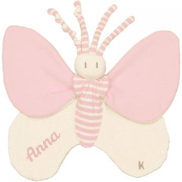 Knuffeldoekje Bondifly prematuur roze met naam