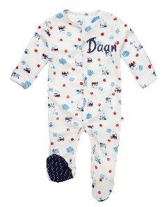 Babypakje stoomtreinprint met naam