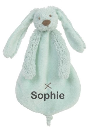 Knuffeldoekje Rabbit Richie mint met naam