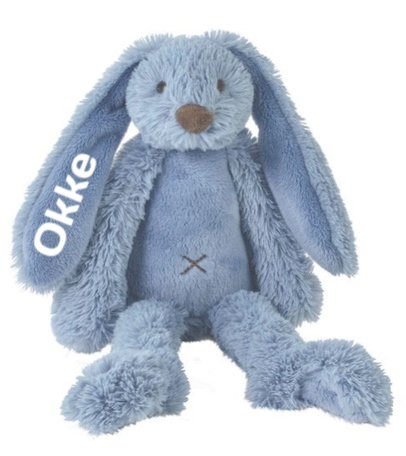 Knuffel Rabbit Richie Deep Blue met naam