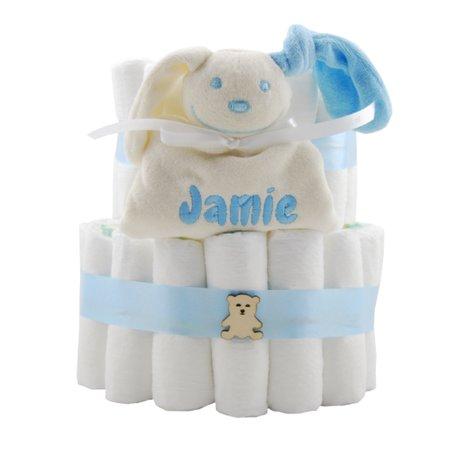 Luiertaart babyblauw XL met naam