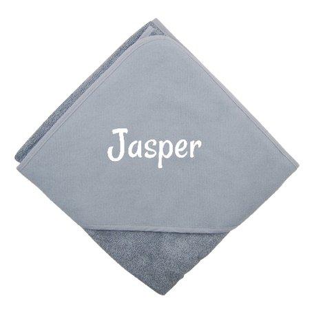 Badcape grijs XL met naam