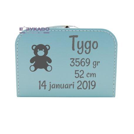 Geboortekoffertje gevuld babyblauw met naam