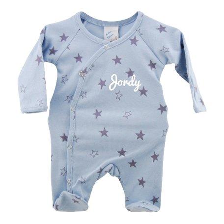 Babypakje blauw sterprint prematuur met naam 44