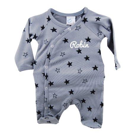 Babypakje grijs sterprint prematuur met naam 44