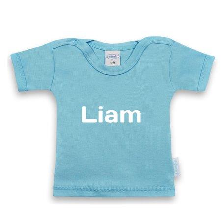 T-shirtje funnies babyblauw met naam maat 62/68