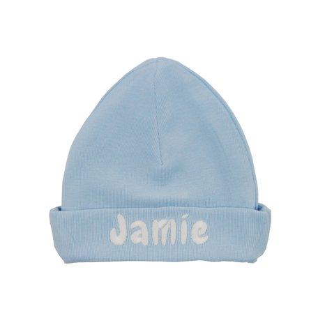 Babymutsje funnies babyblauw met naam maat 62/68