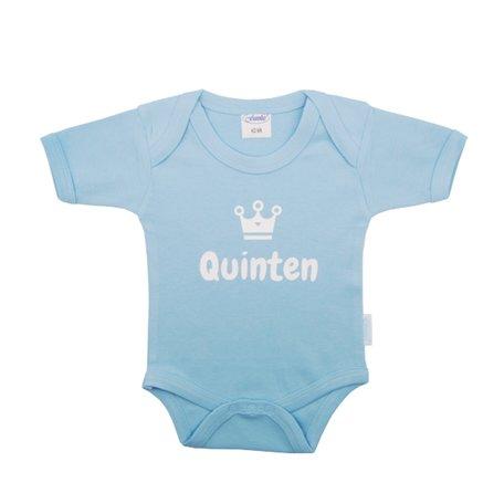 Rompertje funnies babyblauw met naam maat 62/68