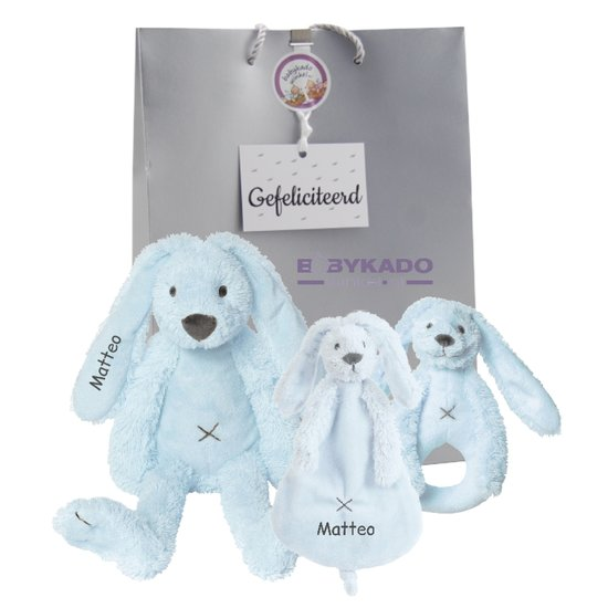 470b84bc56ace7 Babypakketje Rabbit Richie blue met naam