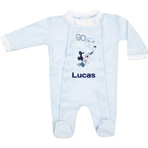 Babypakje Disney Mickey Mouse blauw stripe met naam